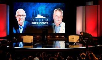 Prezidentská debata online: před Hudebním divadlem Karlín se srocují podporovatelé
