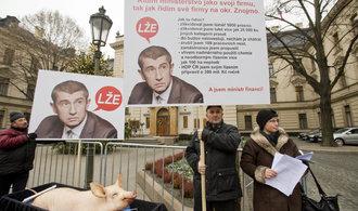 Zemědělec Rada protestoval proti Babišovi, přivezl si mrtvé prase