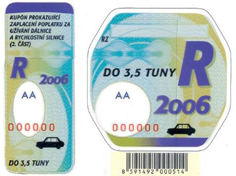 Dálniční známky na rok 2006 v prodeji (CZ, A, CH)