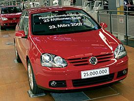 Volkswagen vyrobil už 25 milionů Golfů