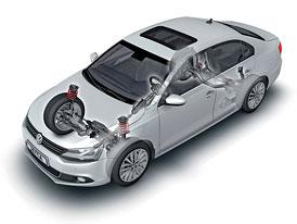 VW Jetta: Víceprvková náprava pro Evropu, vlečená ramena pro USA