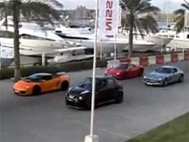 Nissan Juke-R proti třem supersportům (video)