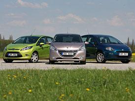 Srovn�vac� test Sv�ta motor�: Peugeot 208 vs. Fiat Punto vs. Ford Fiesta