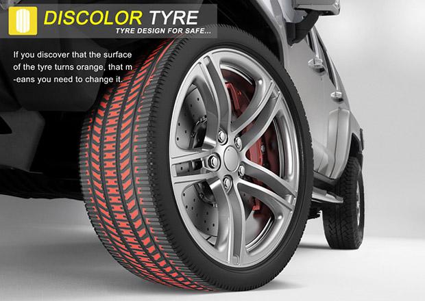 Pneumatika Discolor Tyre svoj� barvou uk�e, kdy je opot�ebovan�
