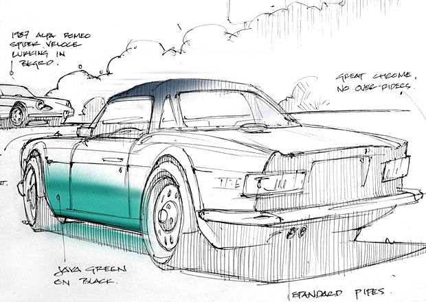 Kresby klasických aut Bruce Thomsona: Umění díky snu