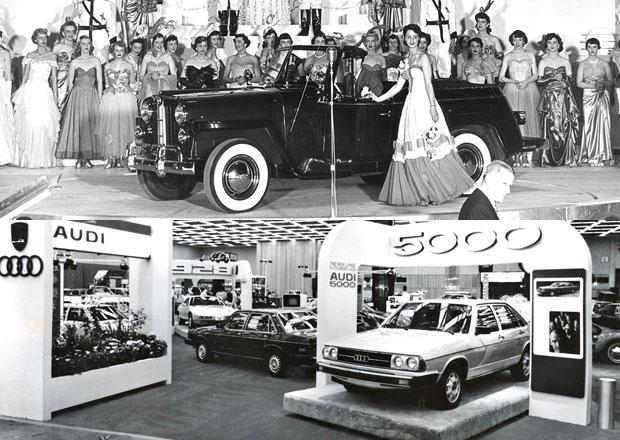 Podívejte se, jak vypadaly autosalony v minulosti! Velká galerie a video