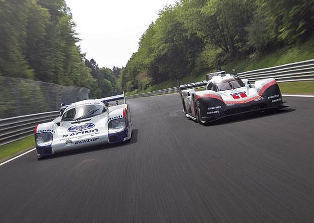 Podívejte se, jak se proháněla Porsche 919 Hybrid a Porsche 956 C na Nürburgringu