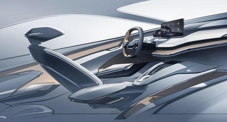 Koncept Škoda Vision iV pokračuje v odhalování. Prostřednictvím skici ukazuje inovativní interiér