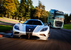 Volvo FH vyzvalo na souboj Koenigsegg One:1 (3x video)