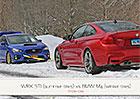 Přetahovaná na sněhu: Je lepší Subaru WRX STI na letních, nebo BMW M4 na zimních gumách?